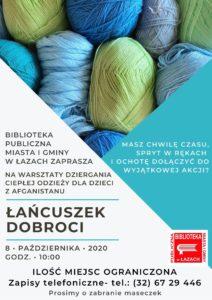 """Informocja o spotkaniu warsztatowym """"Łańcuszek dobroci"""". Spotkanie odbędzie się 8 października 2020 roku o godz. 10:00 w Bibliotece w Łazach."""