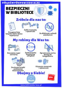 Plakat z procedurami bezpieczeństwa w trakcie pandemii