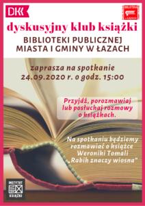 Plakat - informacja o spotkaniu Dyskusyjnego Klubu Książki 24 września 2020 roku
