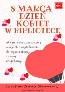 Plakat - zaproszenie na dzień kobiet w bibliotece