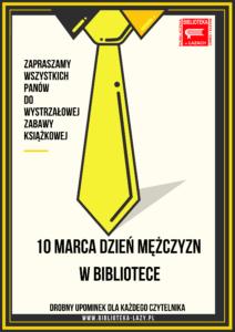 Plakat - zaproszenie na dzień mężczyzn w bibliotece
