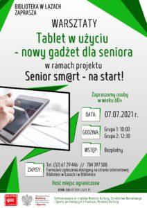 Plakat zapowiadający warsztaty dla seniorów Tablet w użyciu