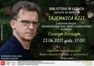 Plakat informujący o spotkaniu autorskim z Cezarym Borowym