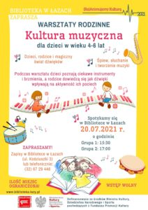 Plakat zapowiadający warsztaty Kultura muzyczna