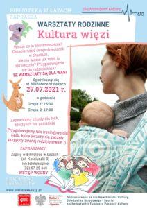 Plakat zapowiadający warsztaty Kultura więzi
