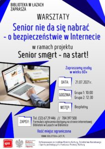 Plakat zapowiadający warsztaty o bezpieczeństwie w Internecie