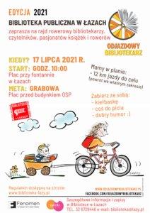 Plakat zapowiadający rajd Odjazdowy bibliotekarz 2021
