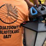 Logo rajdu odjazdowy bibliotekarz i rowerowy kask