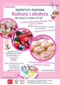Plakat zapowiadający warsztaty kultura i słodycz