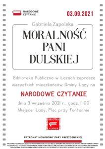 Plakat zapowiadający Narodowe Czytanie 2021