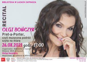 Plakat zapowiadający recital Olgi Bończyk