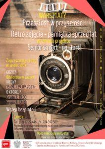 Plakat zapowiadający warsztaty dla seniorów -drobna obróbka i skanowanie fotografii