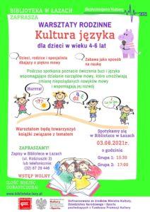 Plakat zapowiadający warsztaty logopedyczne dla dzieci Kultura języka