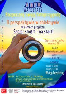 Plakat zapowiadający warsztay fotograficzne dla seniorów