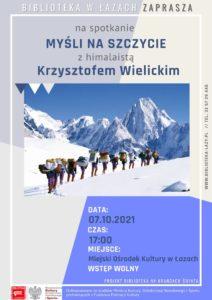 Plakat zapowiadający spotkanie z Krzysztofem Wielickim