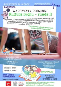 Plakat zapowiadający warsztaty kultura ruchu z fizjoterapeutą