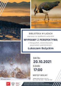 Plakat zapowiadający spotkanie Wyprawy z perspektywą z Łukaszem Bożyckim