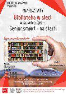 Plakat zapowiadający warsztaty dla seniorów Biblioteka w sieci